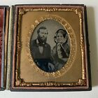 Ambrotype Husband Wife Smiling Portrait Full Case Winter Victorian Fashion