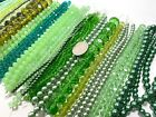 Bulk Lot 10 lbs GREEN CRYSTAL Beads for DIY Beading Mix Size Colored 4 18mm