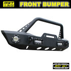 Fit 2007 2018 Jeep Wrangler JK Black Textured Steel Front Bumper With Led Lights