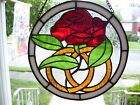 Stained Glass Wedding or Anniversary Rose Sun catcher Real Glass