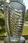 Vintage Glass Lead Crystal Vase Art Deco Mid Century Ribbed 6 Clear Frosted Top
