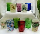 lot of 11 Victorian glass satin enameled engraved tumblers