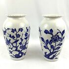 Pair Vintage Anchor Hocking Vases Blue White Milk Glass Etched Trees Birds 9