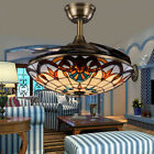 LED Ceiling Fan Light Chandelier Retractable Reverse Blade Tiffany Home decor
