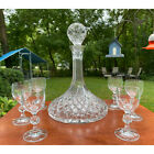 Clear Diamond Cut Glass Ships Decanter Crystal Ball Stopper w Goblets Cordials