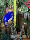 Vintage Nativity Hand Painted Cobalt Blue 4 Glass Ornament Holy Family Flat Rnd