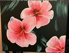 Pink Hibiscus Flower on Stretched Canvas 16x20 Hand Painted Acrylic Painting