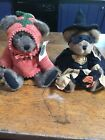 Vintage Halloween Boyd's Bear Harvest Pumpkin Lot Of Two Bears