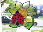 Stained Glass Lady Bug on a Sun flower Sun catcher  Real Glass