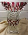 Val St Lambert Cranberry Crystal Cut To Clear Footed Vase 9 1 3 Tall