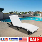 Adjustable Pool Chaise Lounge Chair Patio Furniture PE Wicker W Cushion S OW