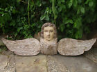 STUNNING LARGE ANTIQUE HAND CARVED WOODEN ANGEL CRACKLED PAINT GLASS EYES 34