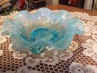 Fenton Blue Opalescent Glass Ruffled Edge Pedestal Compote Bowl Dish