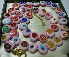 PINK Millefiori Venetian Murano Glass Disk Bead Long Vintage Style NECKLACE