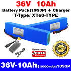 36V 10Ah Battery Rechargeable Li ion 10S3P Battery Pack + Charger T XT60 Ports