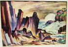 GORGEOUS SIGNED EARLY CALIFORNIA 30S WATERCOLOR PAINTING COASTAL