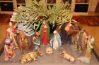 Vintage Large 9 Nativity Set Chalkware Plaster 12 Figures