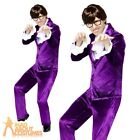 Mens Austin Powers Costume 60s Gigolo Groovy Lover Fancy Dress Purple Suit