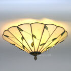 Tiffany Style Leaf Flower Vintage Light Stained Glass Ceiling Lighting Fixture