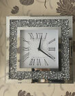 MIRROR CRUSHED DIAMOND SILVER CRUSHED CRYSTAL FILLED SPARKLY WALL CLOCK