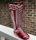 GERMAN IMPERLUX RUBY CRANBERRY HAND CUT TO CLEAR 7 7 8 EQUESTRIAN BOOT VASE
