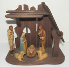 Vintage Wood Stable Nativity Hard Plastic Figures Hong Kong Manger Creche