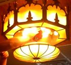 2 Antique Movie THEATER LIGHT FIXTURES Stained Glass Chandeliers ART DECO GREAT