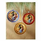 Set of 3 Christmas Ornaments Traditional Byzantine Icon of the Nativity