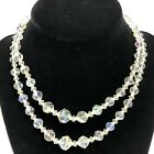 Vintage Aurora Borealis Crystal Double Strand Necklace Faceted Glass Beads