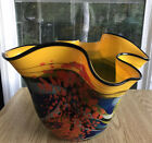 Ioan Nemtoi Very Large Wavy Contemporary Art Glass Signed Vase