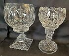 2 Pcs Vintage Czech Republic Bohemian Cut Glass Footed Vases