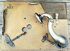 Vintage WindUp Phonograph Birch Record Player Parts Still attached to Deck