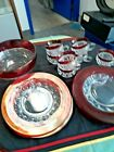 LK Indiana Glass Kings Crown Ruby Red Thumbprint Snack Set  95 Bowl 16 pcs