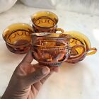 Set of 4 Vtg Indiana Glass Amber Thumbprint Kings Crown Punch Cups