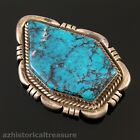 NATIVE AMERICAN NAVAJO STERLING SILVER HIGH GRADE TURQUOISE PIN BROOCH