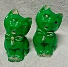 Plastic Green Cat Salt And Pepper Shakers