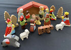 CUTE Tiny Small 24 Piece CRECHE Hand Painted Carved Wood Nativity Set CHRISTMAS