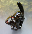 FENTON ART GLASS BLACK SCAREDY CAT HAND PAINTED GREEN EYES AND SPIDER WEB