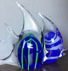 PAIR OF GLASS FISH LOT SET OF 2 BLUE White Green 5 Inches SWIRL F32