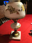 Vintage Glass Lamp Crimped Top Floral Leaf Leaves Hand Painted Fall On Marble