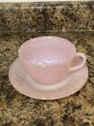 Vintage Anchor Hocking Fire King Pink Swirl Tea Coffee Cup  Saucer Set