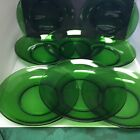 Set of 8 Anchor Hocking Forest Green 7 1 2 Round Glass Deep Well Salad Plates