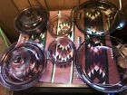 Corning Visions Cranberry And Amber Matching Sets 8 Pcs Pie Plate Bowls W Lids