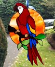 Stained Glass Suncatcher Red Parrot Tiffany technique Handmade beautiful Gift