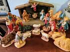 Vintage NATIVITY SET Chalkware Made in Italy 19 JUMBO Figures 2 PC Wooden Creche