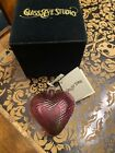 Glass Eye Studio Hand Blown Ornament Purple Heart New With Box Christmas