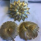 Monet Set Of Three Goldtone Brooches Pins Stylized Flowers Bows Vintage 20