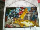 Vintage Hand Painted Stained Glass TIFFANY 3 CATS Joan Baker Designs Sun Catcher