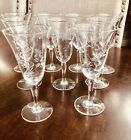 5 Etched Crystal Stemware Cordial Aperitif Glasses Set of 9