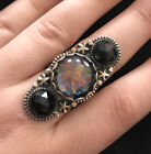 Lavender Star Designs Sterling Silver Handmade Glass Cab Faceted Onyx Ring 775
